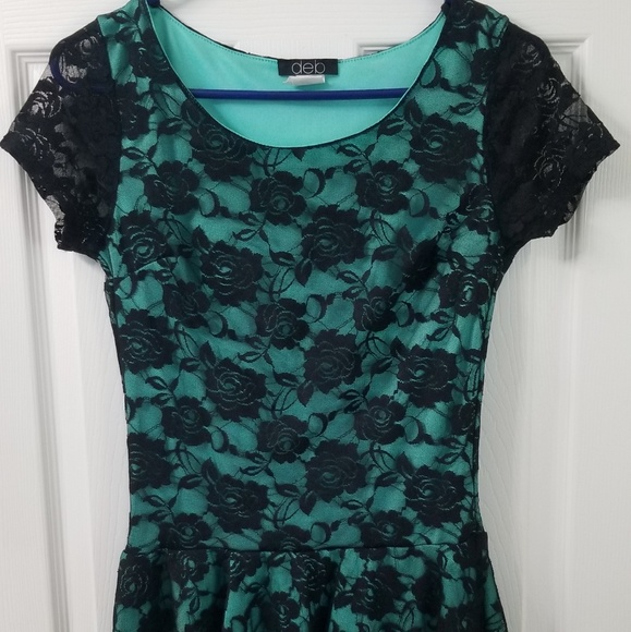 Deb Tops - Black Rose Lace Overlay Women's Blouse Teal Green